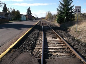 "The former Oregon Electric line runs along Albany's Water Avenue. Albany doesn't want ""high-speed"" trains on this part of the route, the Water Avenue segment of which has been the subject of a lawsuit by the city for the last few years. The suit is said to be near a settlement, but nothing has been signed."