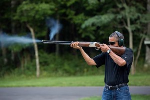 White House photo of President Obama at Camp David.