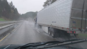 Here's a mild case of road spray on Interstate 5.