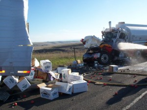 The state police said this was the result of distracted driving on I-84 near Pendleton. (OSP photo)