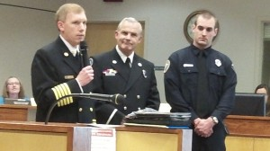 Fire Chief John Bradner with Lt. Jamie Smith, center, and Firefighter Curt Wilson.