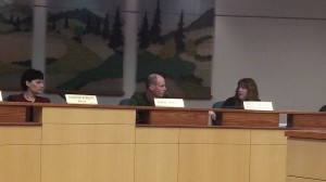 Mayor Sharon Konopa, Mark Spence and Urban Renewal Manager Kate Porsche at a meeting in April.