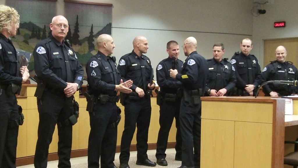Chief Ed Boyd commends officers of his department.