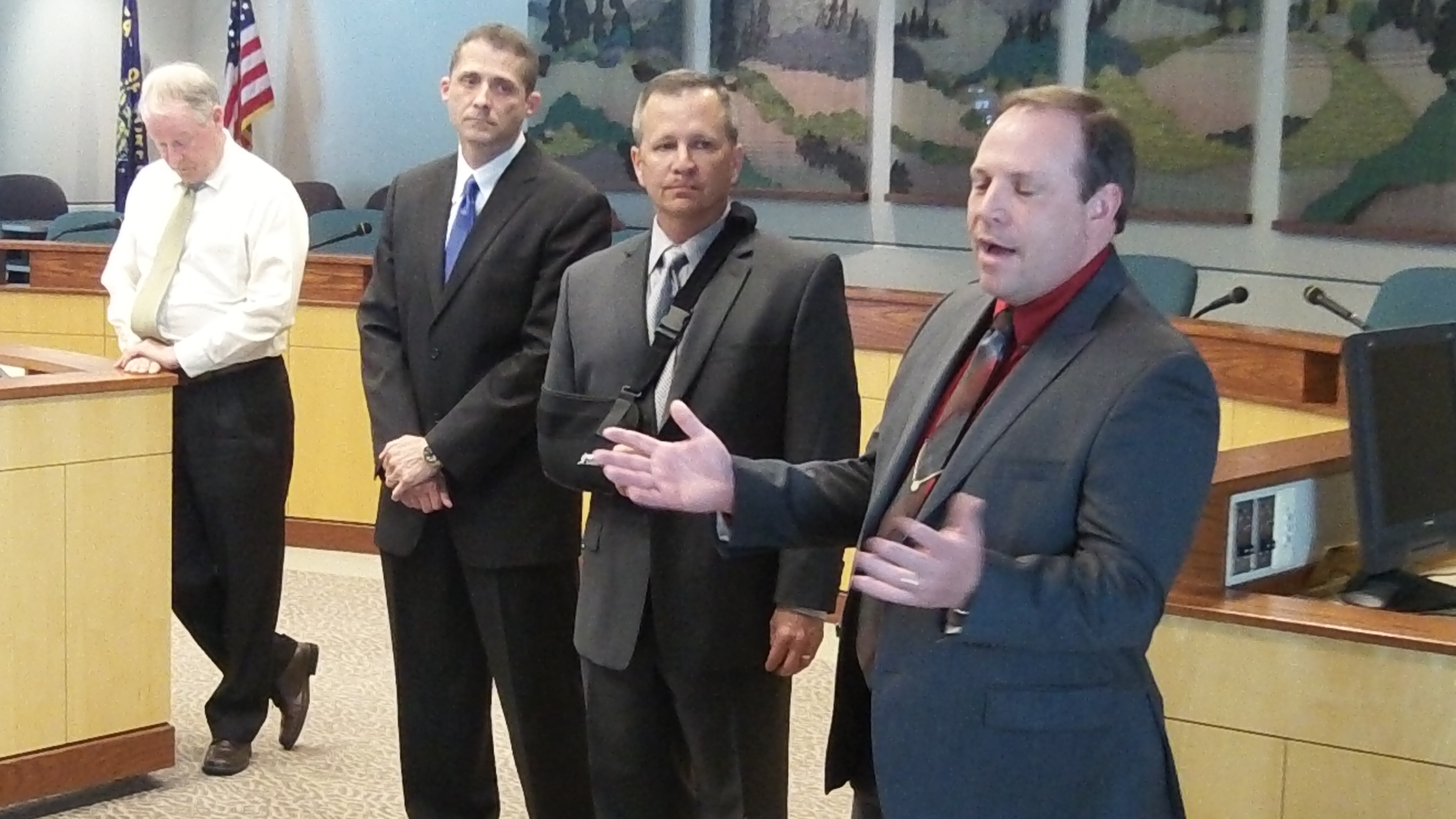 From left: City Manager Wes Hare and police chief finalists Mario Lattanzio, Dan Hendrickson and Jim Peterson.