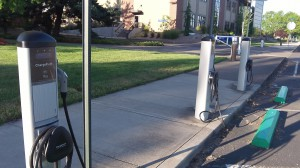 Charging stations for electric vehicles at Linn-Benton Community College.