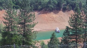 The water level in Shasta Lake seems very low.