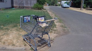 Someone left this Safeway shopping cart at Willamette Avenue and Alco Street, where it sat on Tuesday.