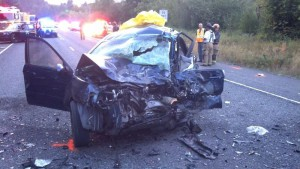 Two people died in this car on Highway 22. (Oregon State Police photo)