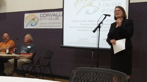 Farmers Matt Crawford, left, and Frank Morton listen to Rep. Sara Gelser speaking to the Corvallis City Club Sept. 9