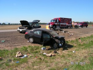 The Oregon State Police provided this photo of the Sept 10 crash on I-5 in Linn County.