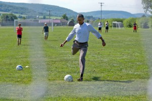 The president should have stuck with soccer. (White House photo)