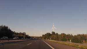 Wind turbines near the autobahn outside of Muenster, Germany, on Sept. 29.