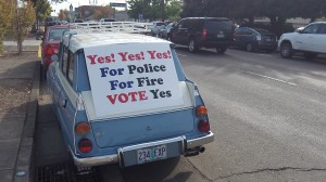 Councilman Ray Kopczynski's vintage Saab serves as a campaign vehicle on Ellsworth Street.