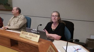Councilor Bessie Johnson made the motion. Bill Coburn, to her right, voted no.