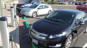 Two Chevy Volts suck up electrons from  charging stations at Linn-Benton Community College on Oct. 28.
