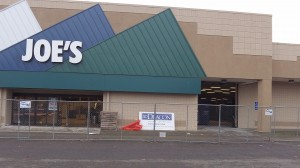 The front of the store being remodeled.