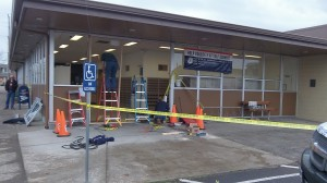 Repairs under way at the Albany Post Office Thursday afternoon.