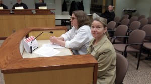 Kaymarie and Karen Novak (foreground) appeared before the CARA board Wednesday.
