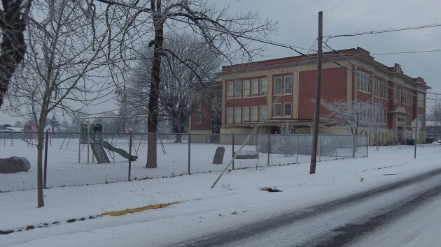 No kids: Albany's Central School at mid-morning on Thursday.