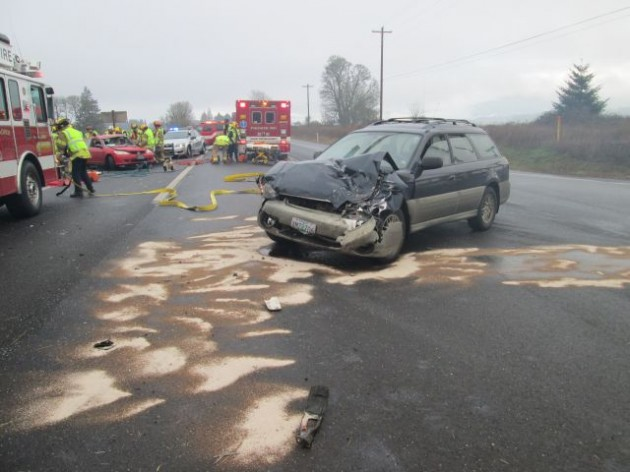 The Oregon State Police took this photo of the Dec. 3 crash site on Highway 20 at Independence Highway.