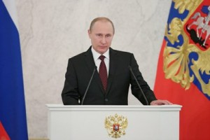 The Kremlin website published this photo of Putin with his speech.