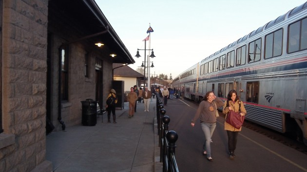 Amtrak's Train 11, the southbound Coast Starlight, makes a stop at Albany Station Saturday.