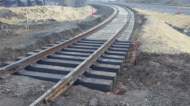 A section of new track on the east side of Madison Street.