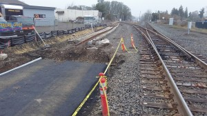 Looking east from Main Street: Where the new track will go on the left, and the UP mainline on the right.
