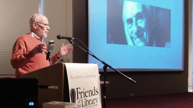 Gerald Krantz talks about Patrick O'Brian as the author's face appears on the screen.