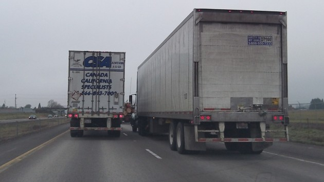 Trucks choke northbound I-5 north of Eugene.