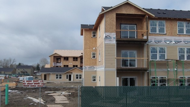 A view of two of the apartment blocks and the recreation building at the Plum Tree site Thursday.