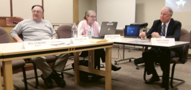 City Manager Wes Hare, right, at a council work session in February.
