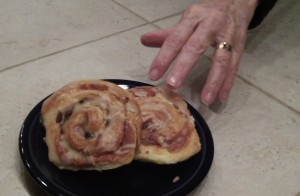 Reaching for a sweet roll: Anything to illustrate a story.