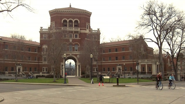 A quiet Sunday afternoon on the campus of Oregon State.
