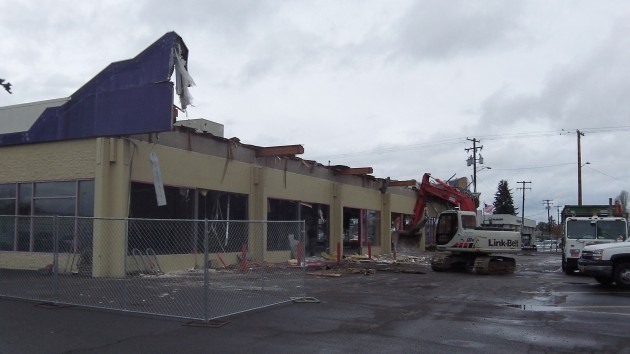 The demolition of the old Hollywood Video building in Albany was at this stage Wednesday.