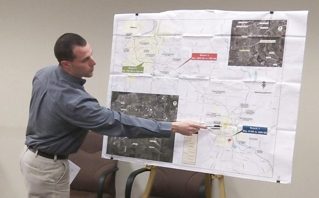 City Engineer Jeff Blaine with a map of the Albany-Santiam Canal at Monday's Albany City Council work session.