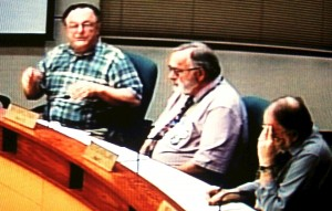 It's not exactly HD; Councilors Rich Kellum, Ray Kopczynski and Floyd Collins, from left.