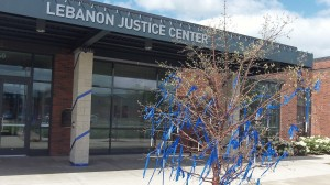 Lebanon's Justice Center. (The blue ribbons signify the need to be aware of and combat child abuse.)