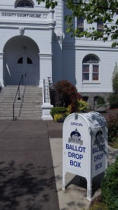 Ballot drop boxes like this in Corvallis are not exactly being overrun.
