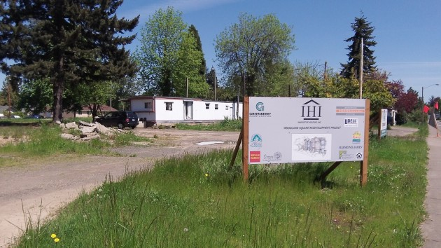 In the background is one of the two trailers remaining on the site.