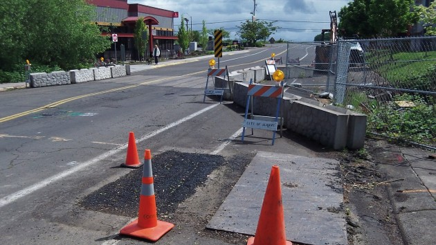 Some utility work was being done this week in advance of the Belmont Street culvert job.