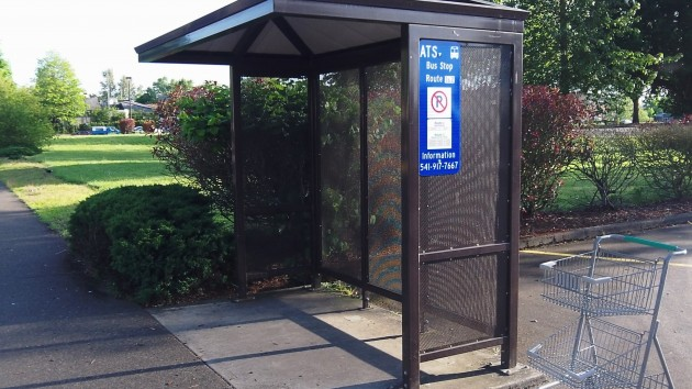 The bus stop near Fred Meyer Monday evening: No bench and no squatters.