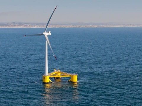 The Energy Department published this image of a floating wind turbine online.