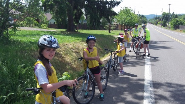 This group waits on Gibson Hill for a classmate and chaperone to catch up.