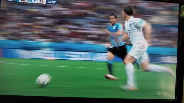 Uruguay vs. England during the first half.