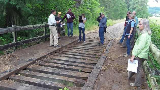 Checking out a trestle over Oliver Creek in Benton County.