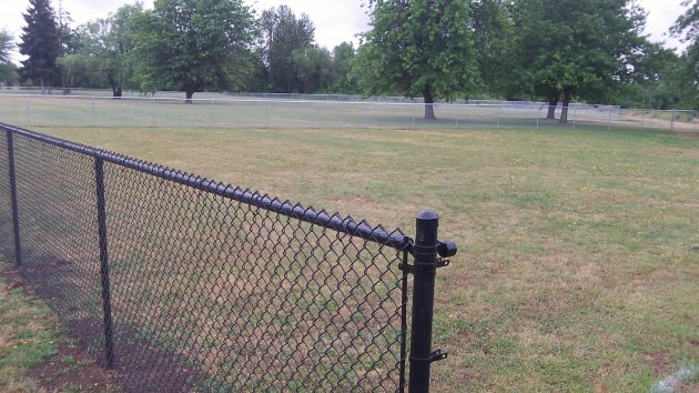 The dog park fence is still unfinished, waiting for gates that may be installed next week.