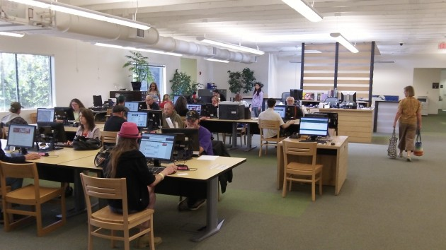 Sunday afternoon at the Albany library: Linked to the world online.