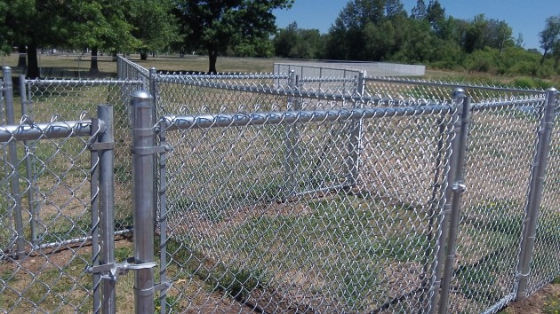 Cage-like features at the entrance to the new dog park.
