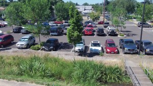The Swanson parking lot: Obviously many didn't walk to the pool.